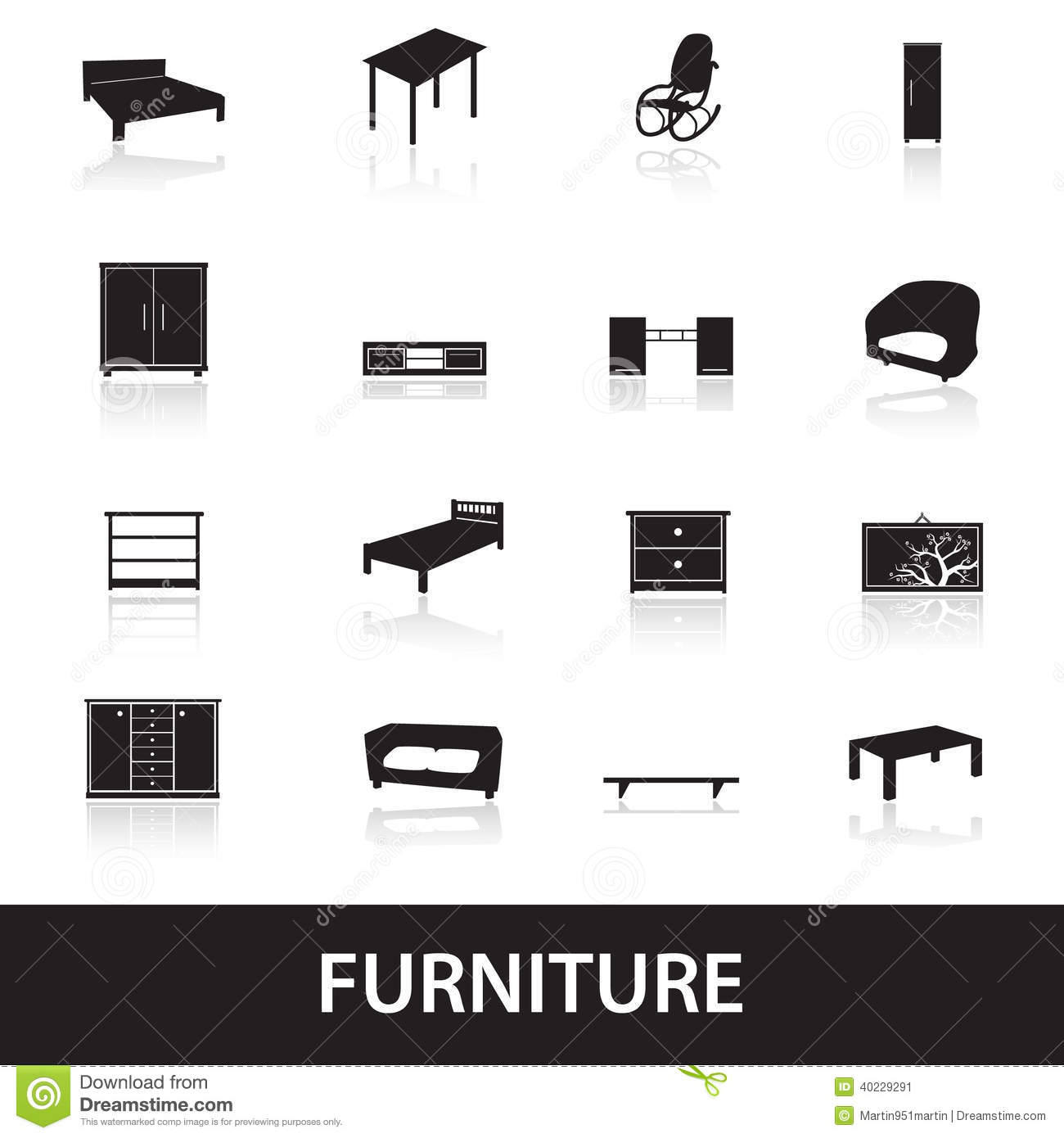 Furniture Types Icons Eps10 Stock Vector Image