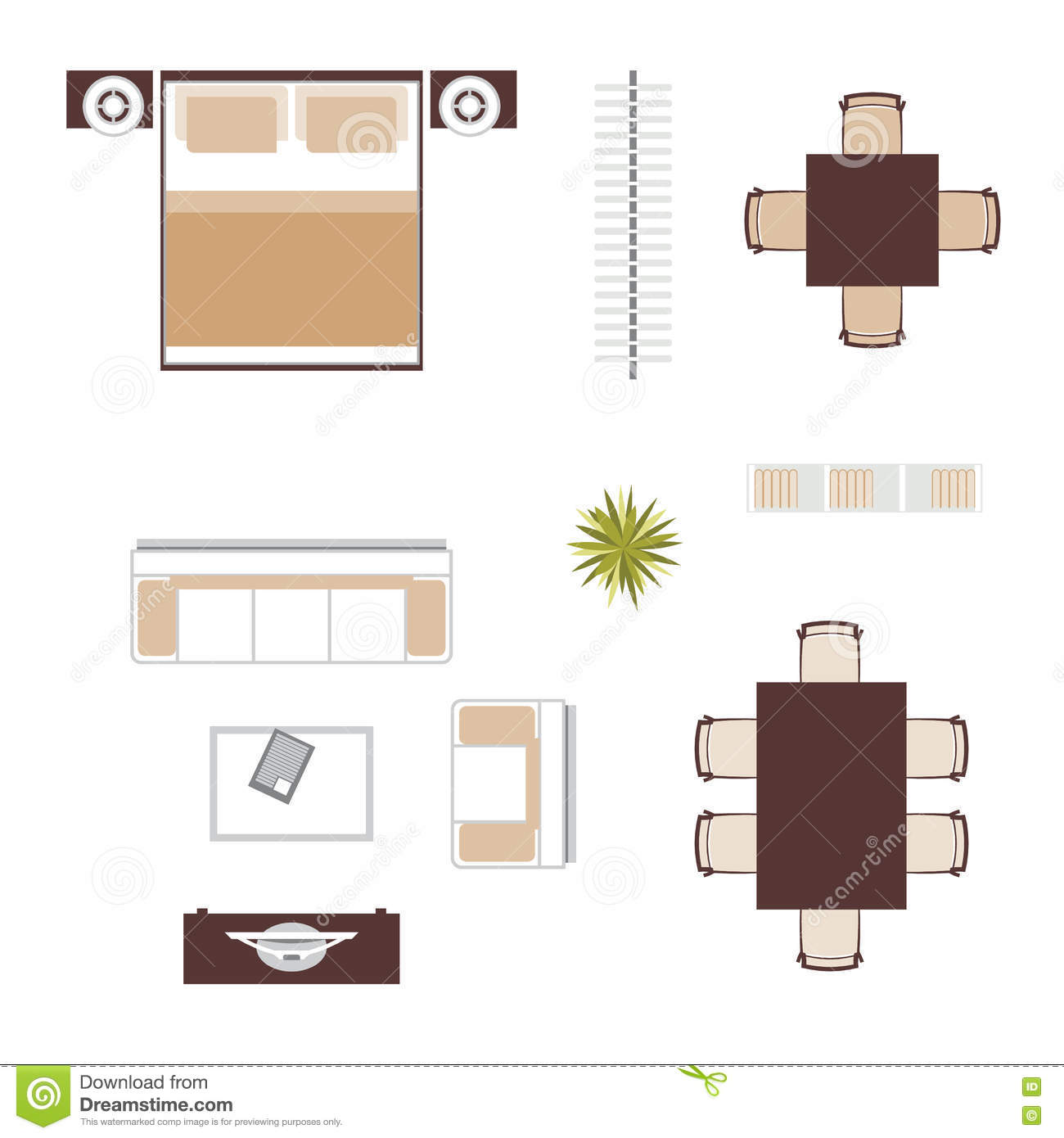 Furniture Top View Vector Stock Vector Illustration Of Plant 74089767