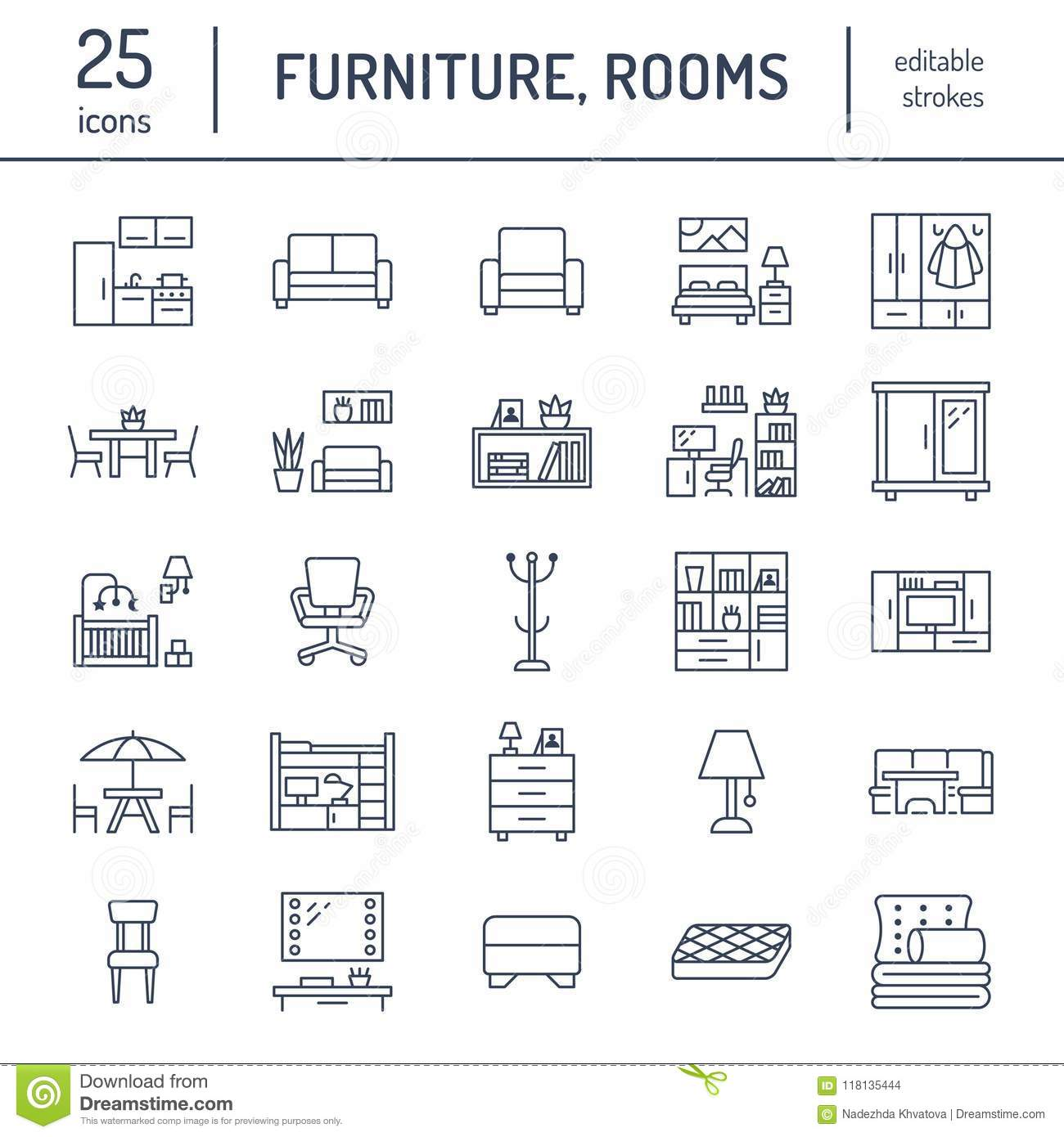 Furniture vector flat line icons. Living room tv stand, bedroom, home office, kitchen corner bench, sofa, nursery