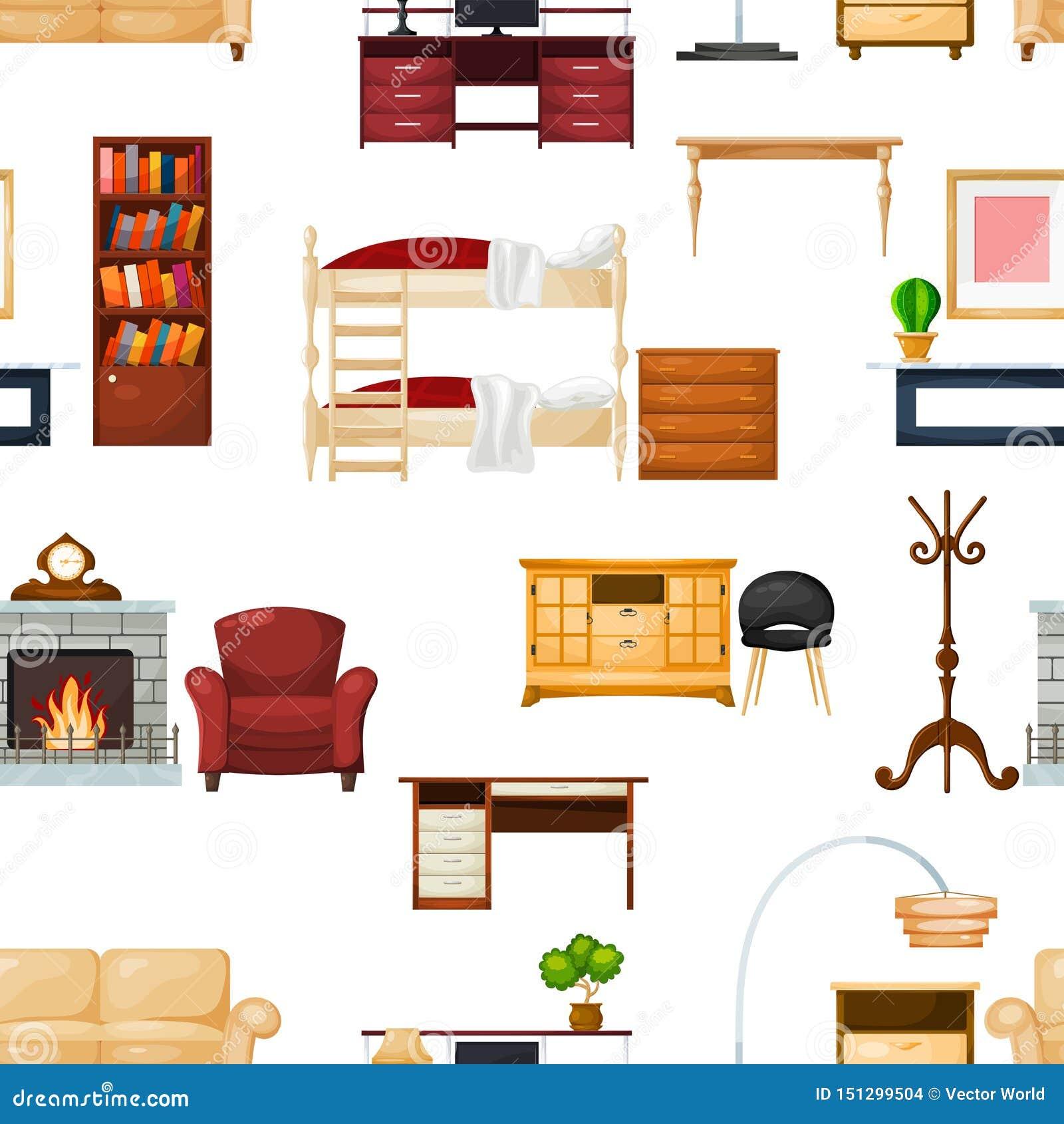 Furniture Vector Furnishings Design Of Living-room Interior ...