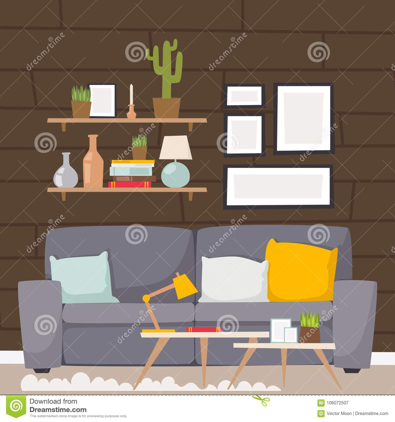 Furniture vector room interior design apartment home decor for Apartment design vector
