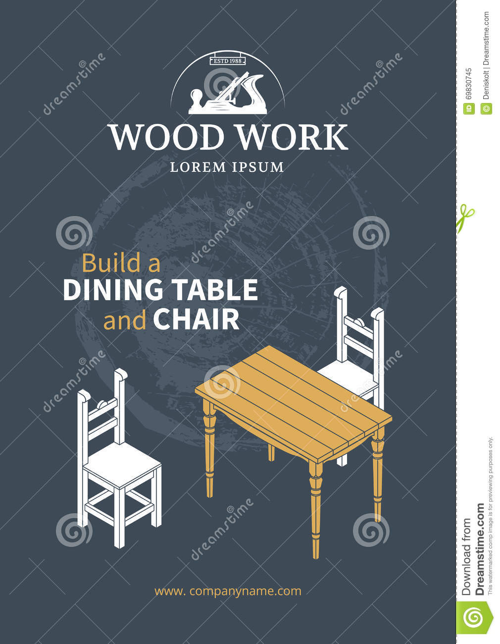 Furniture Wood Poster Stock Vector - Image: 69830745