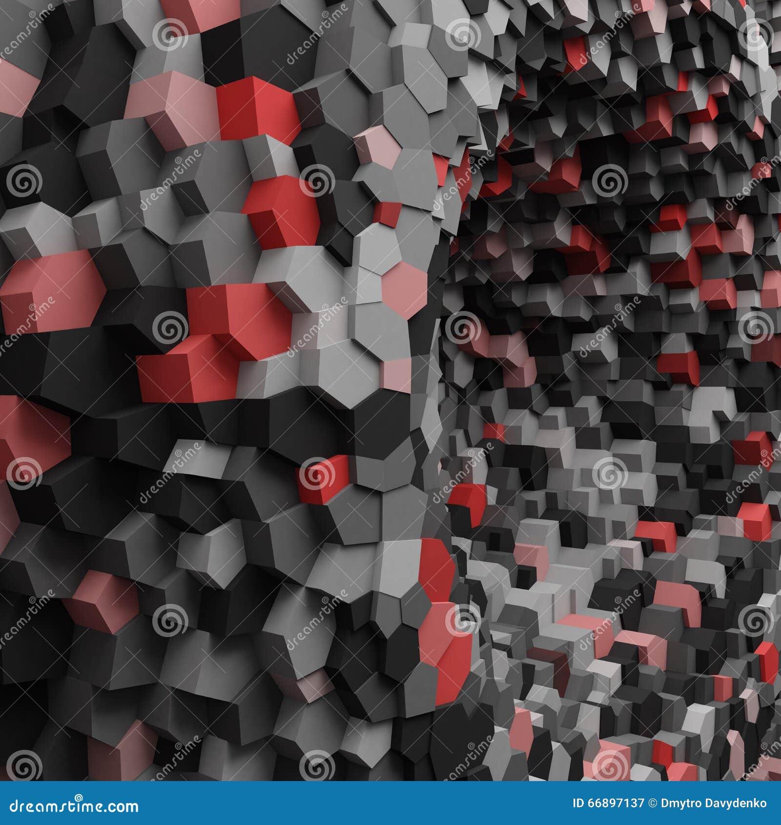 Furo 3d geométrico abstrato com os cristais para o fundo