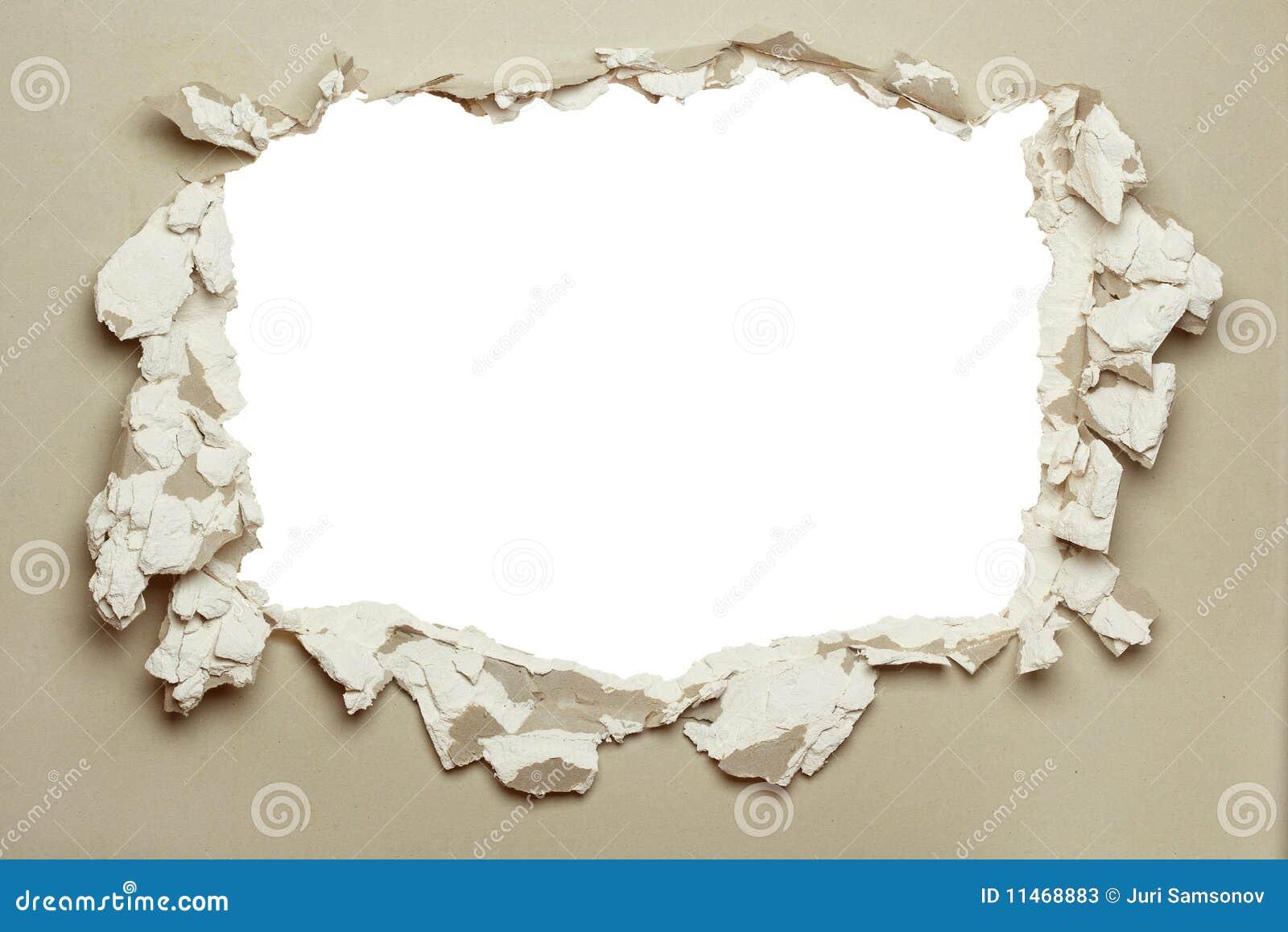 Furo no plasterboard cinzento.