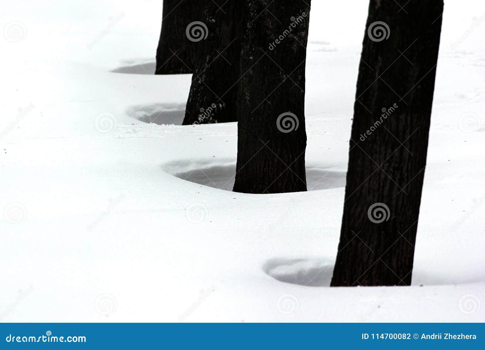 Furos na neve fundida pelo vento e pela tempestade de neve
