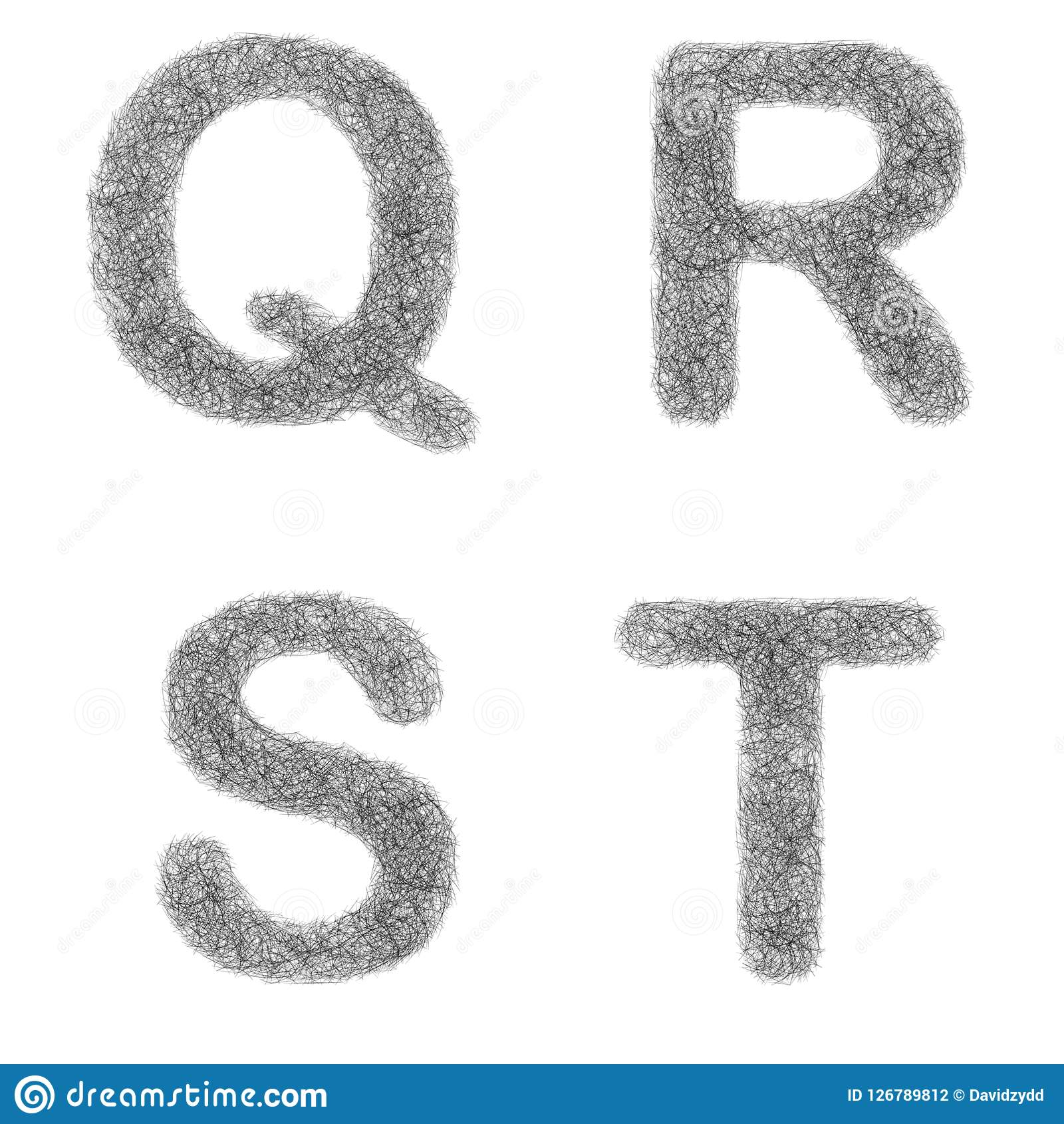 Furry Sketch Font Set Letters Q R S T Stock Vector