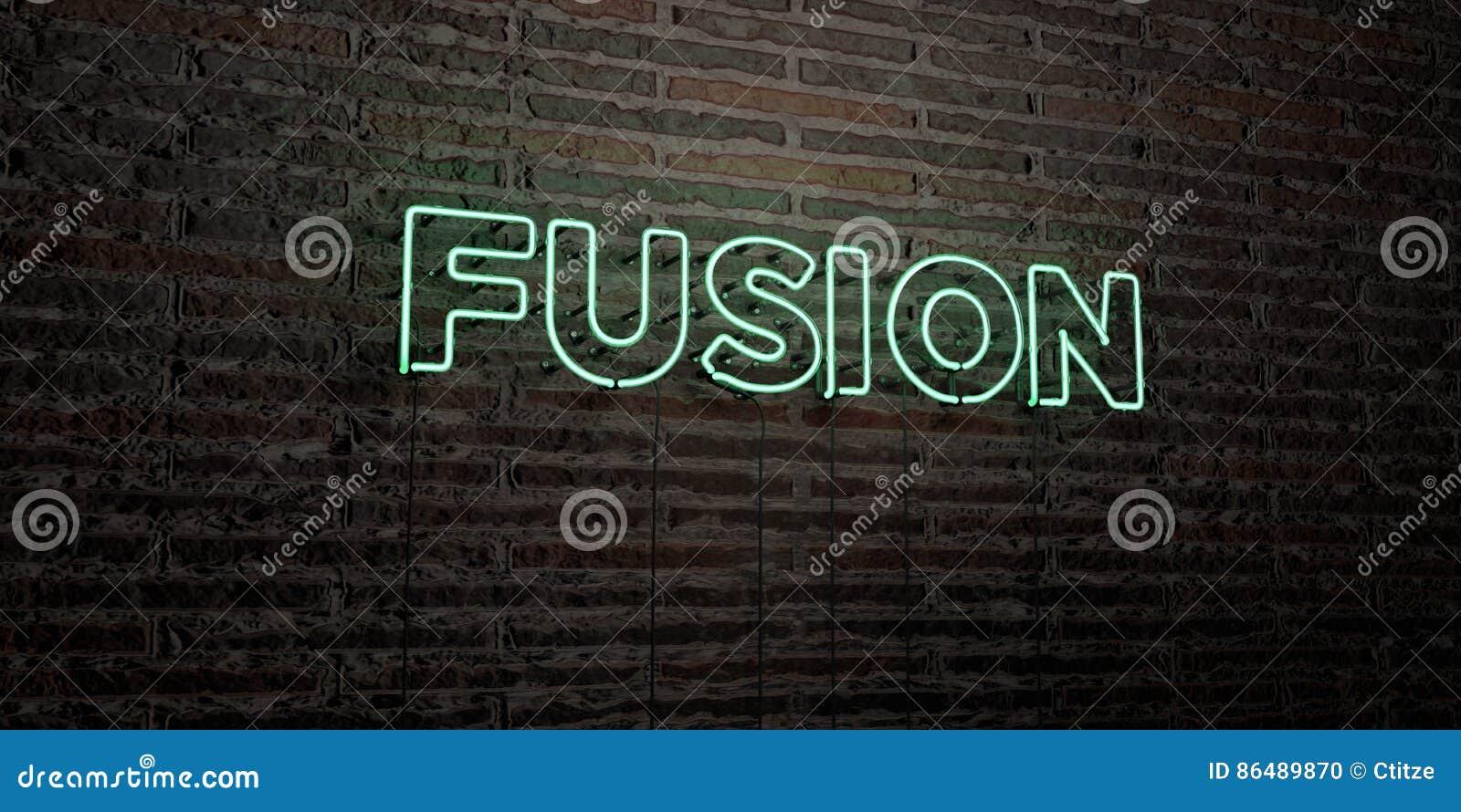 A FUSÃO - sinal de néon realístico no fundo da parede de tijolo - 3D rendeu a imagem conservada em estoque livre dos direitos