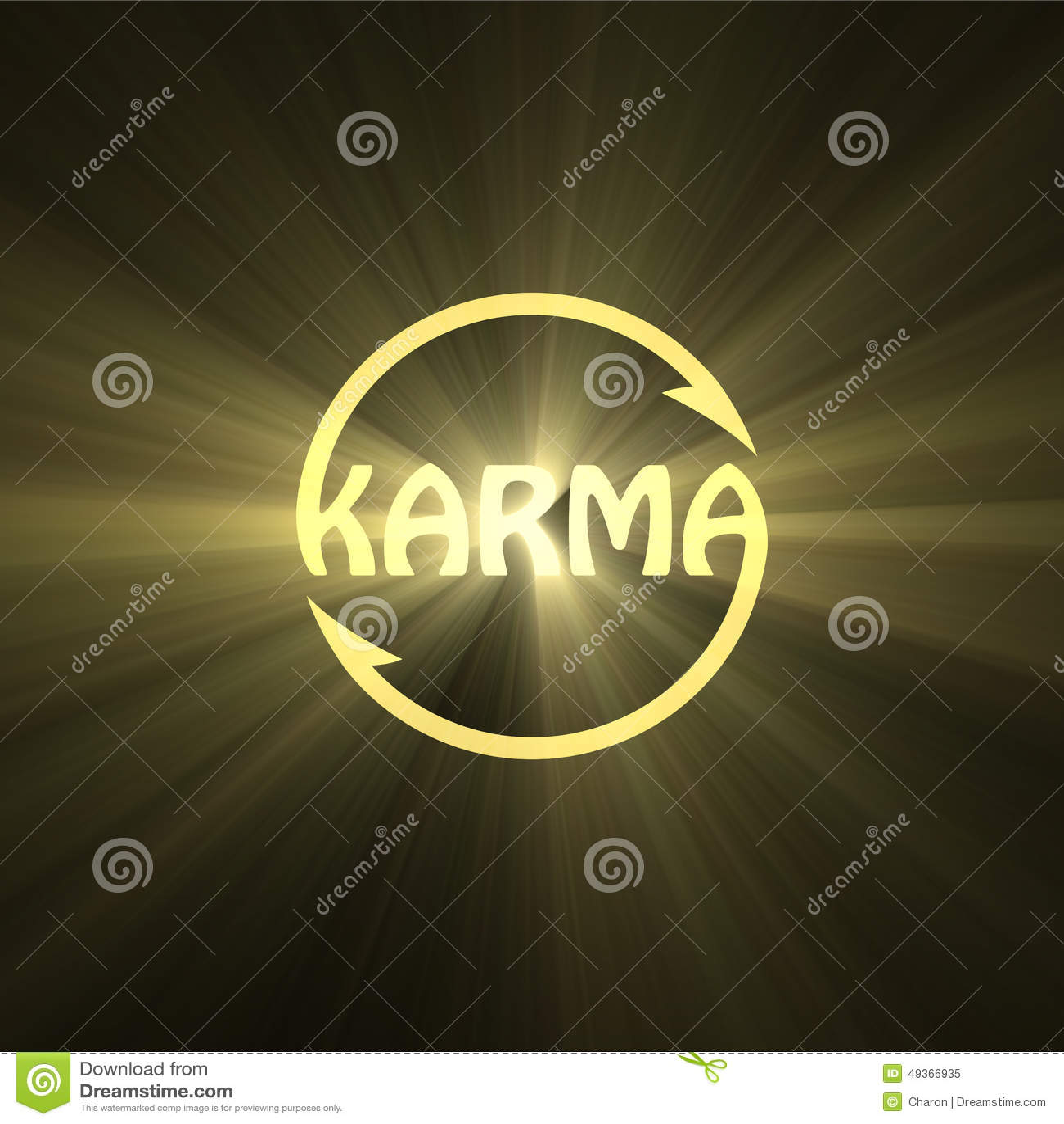 Fusée de lumière de signe de bouddhisme de lettre de karma