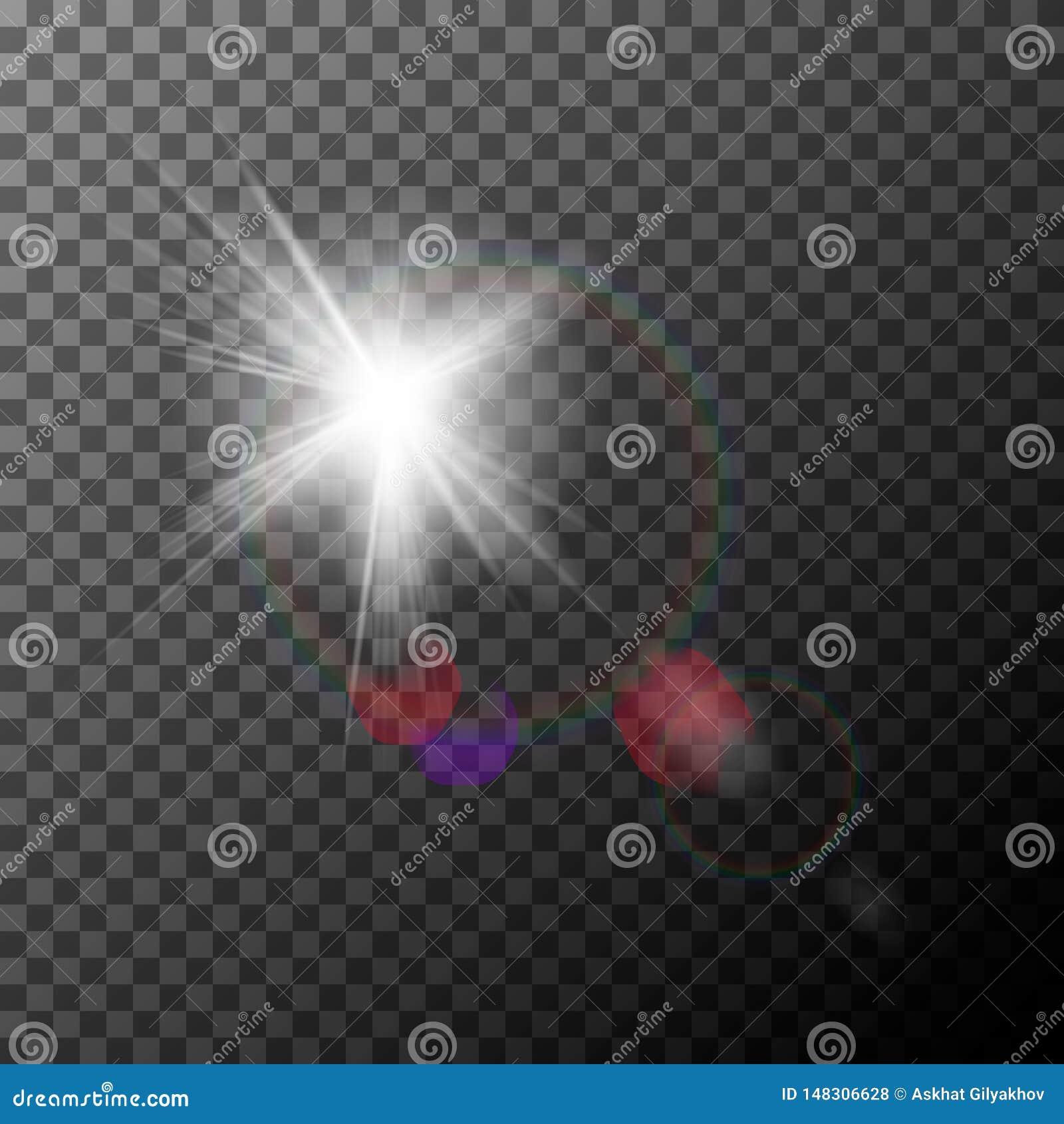 Fusée réaliste de lentille avec des points culminants Effet de la lumi?re