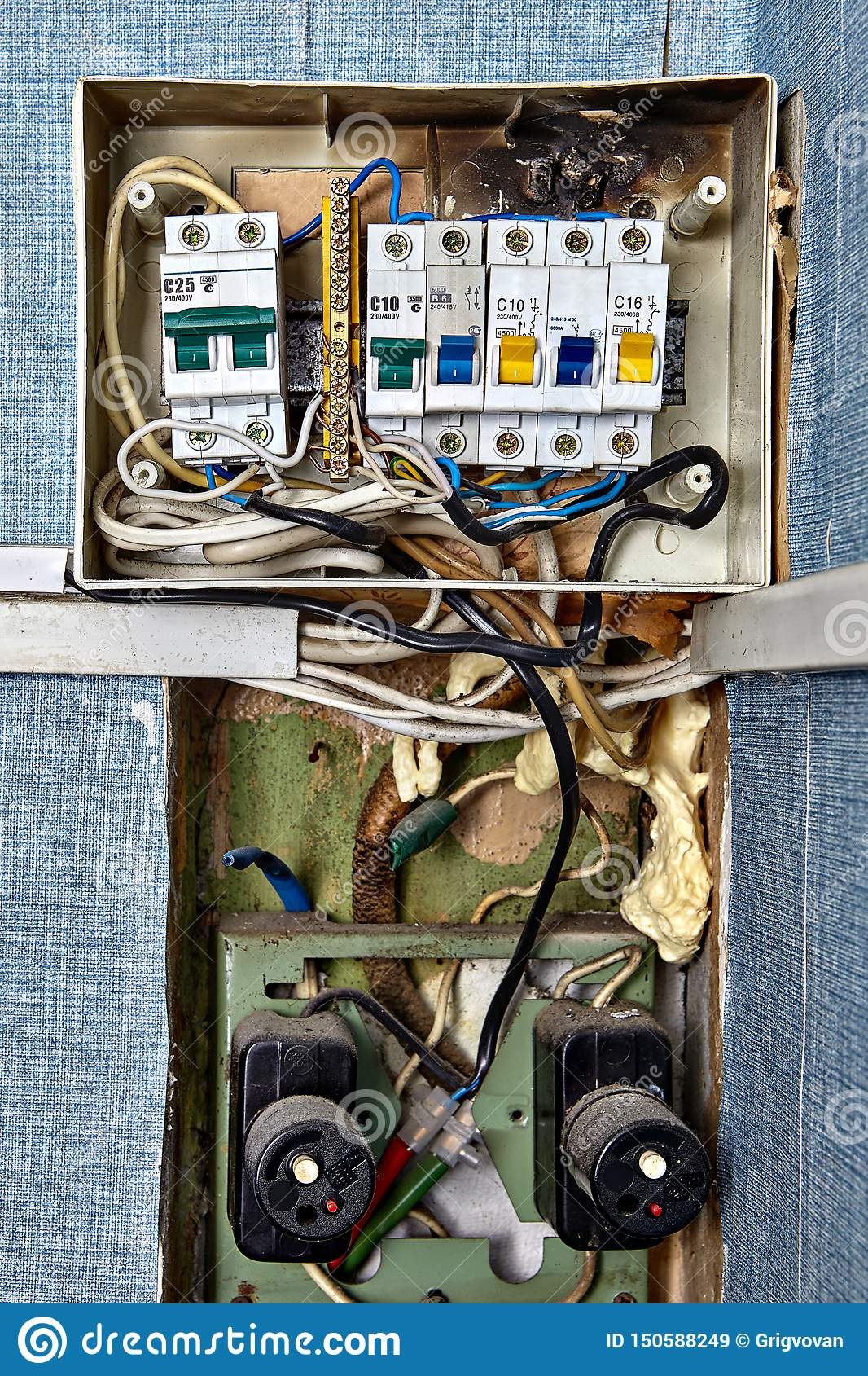Fuse Box With Burnt Circuit Breaker Panel Stock Image Image Of Cabinet Board 150588249