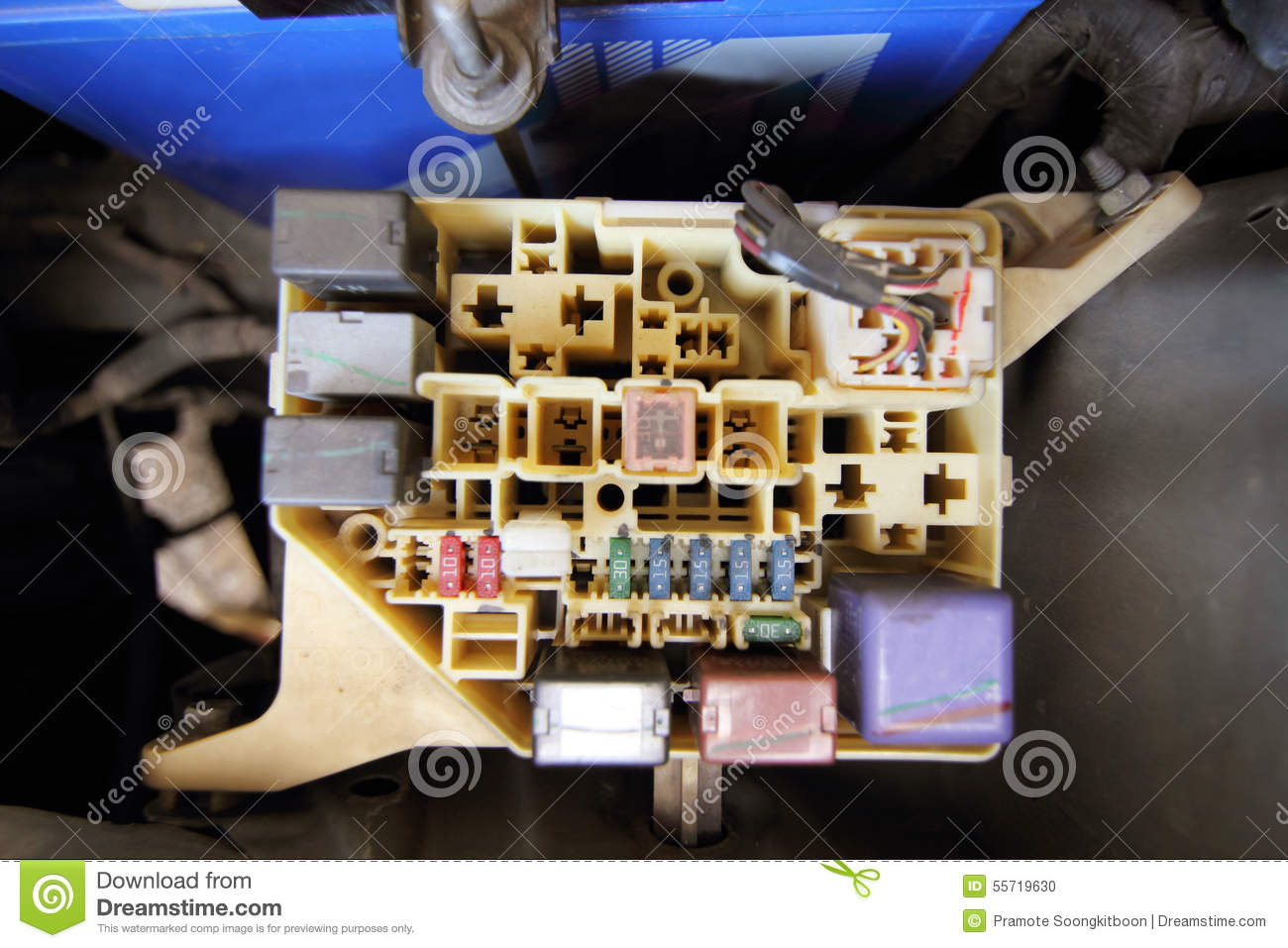 Fuse box of car opened , electronic part fuse