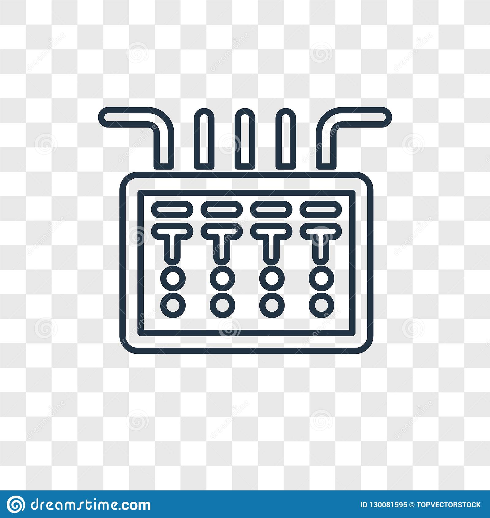 fuse box concept vector linear icon on transparent back stock vector