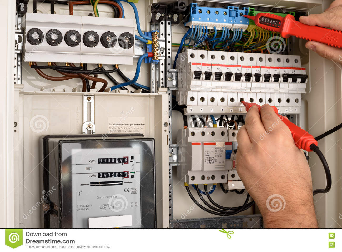 Fuse Box Stock Image Of Installer Person Measuring 79898453 Machine