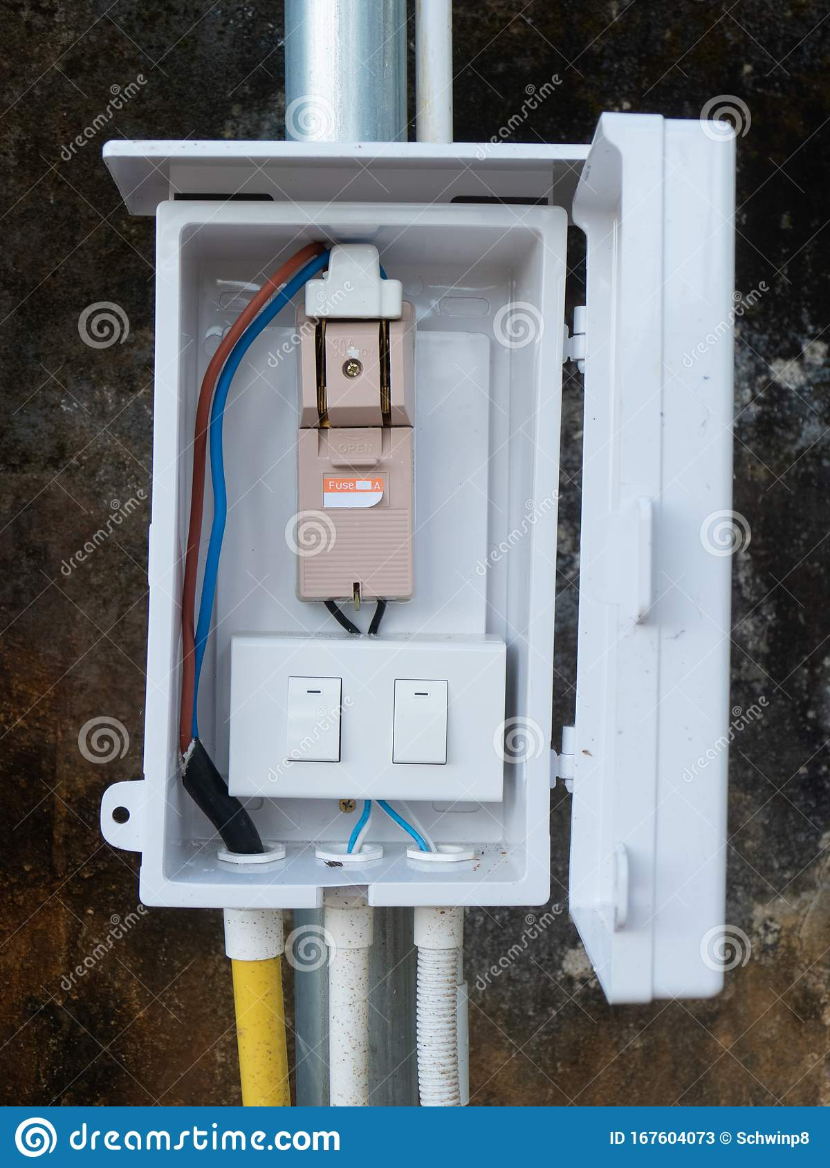 Fuse Cutout And Lighting Switch In A Box Stock Image