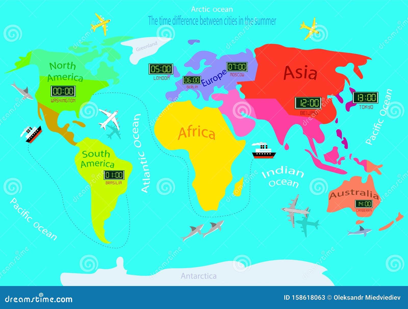 Fusi Orari Su Una Mappa Mondiale Differenza Di Tempo Tra ...