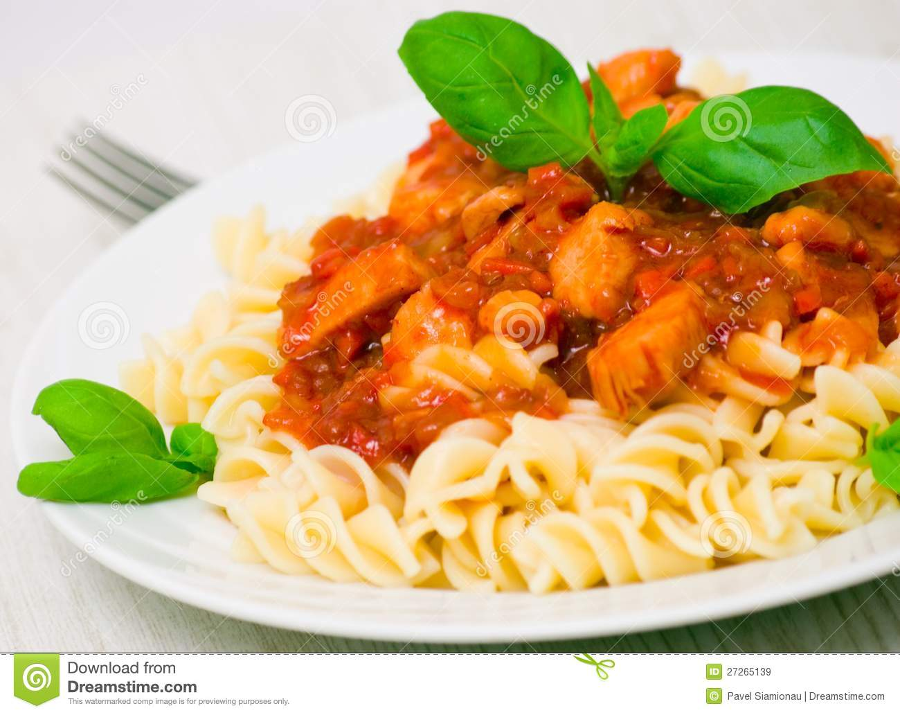 Fusilli Pasta With Chicken Breast In Tomato Sauce Royalty Free Stock ...