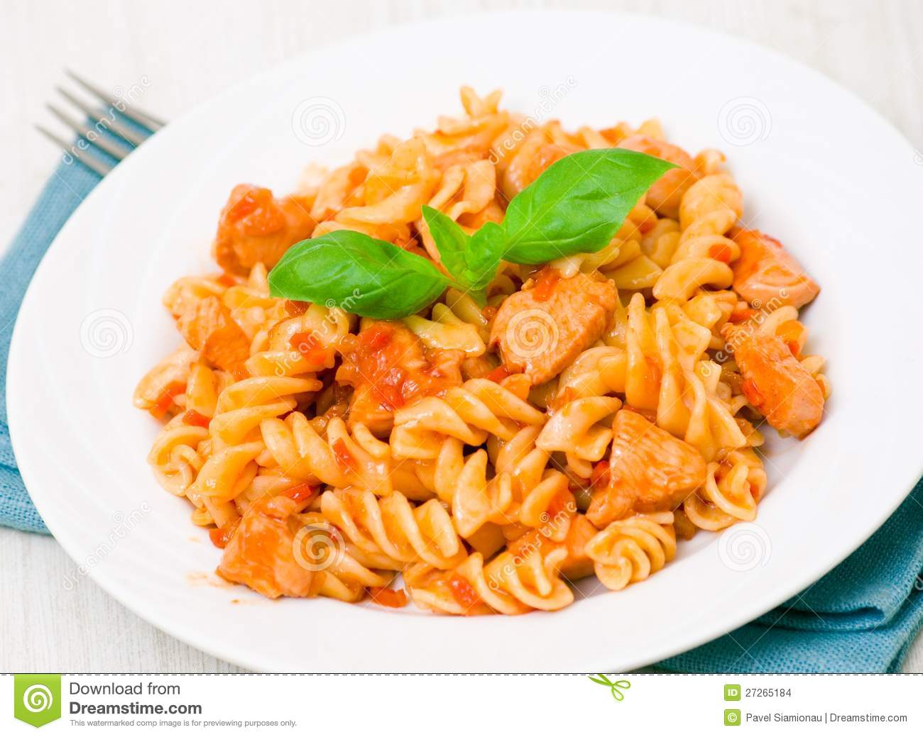 Fusilli Pasta With Chicken Breast In Tomato Sauce Stock ...