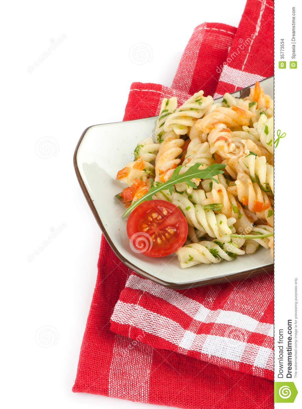 Fusilli Pasta With Tomato Sauce Stock Images - Image: 35773534