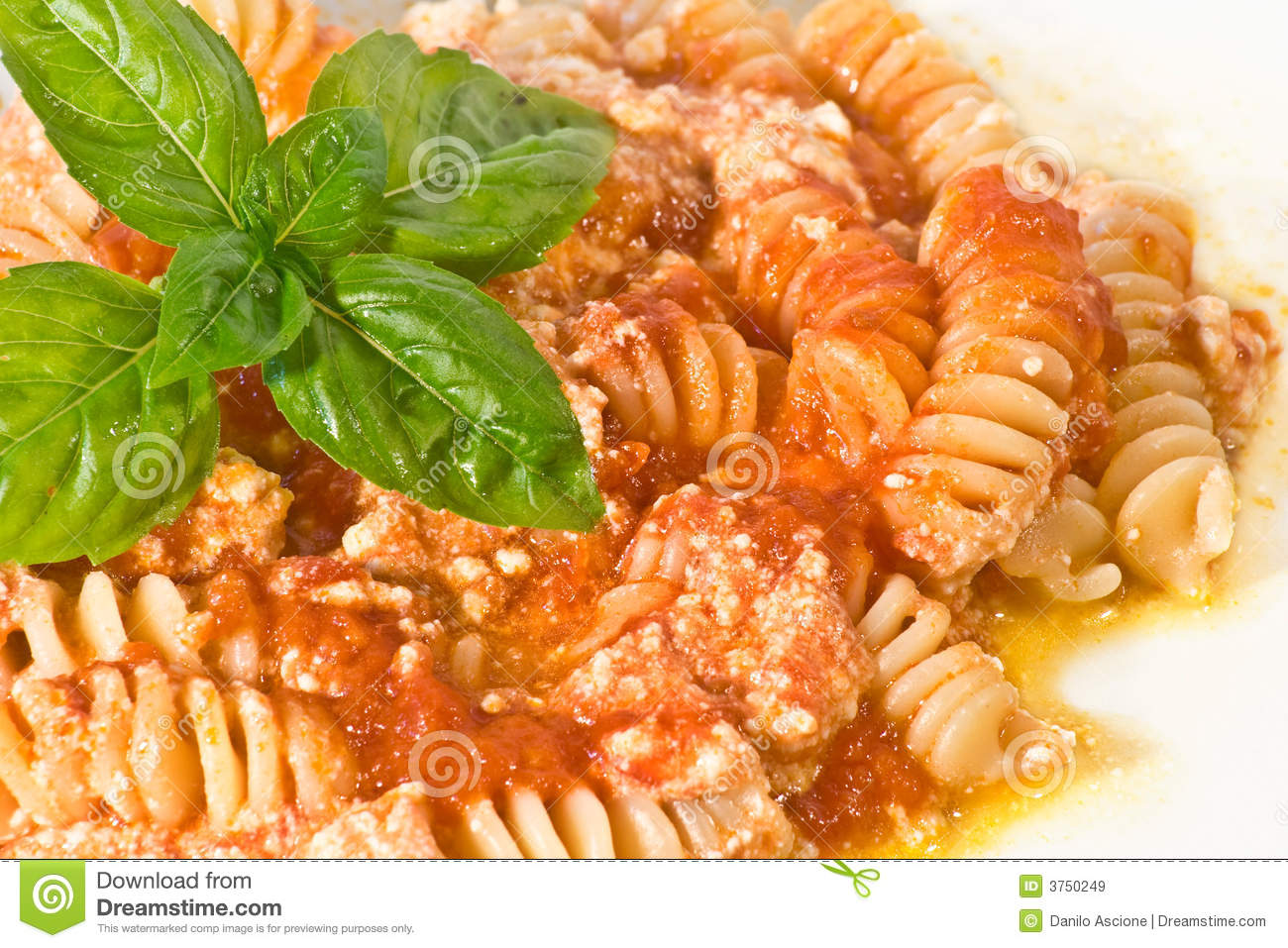 Fusilli With Ricotta Royalty Free Stock Images - Image: 3750249