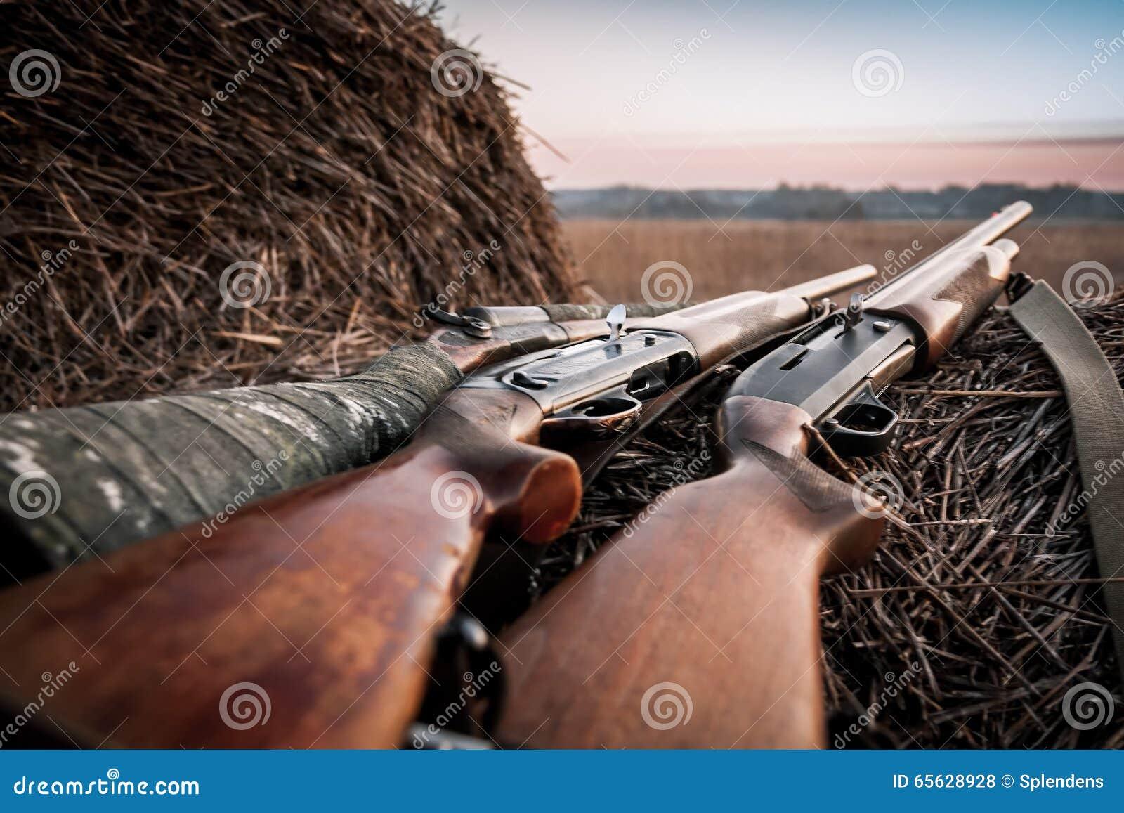 Fusils de chasse de chasse sur la meule de foin pendant le lever de soleil dans l attente de la chasse