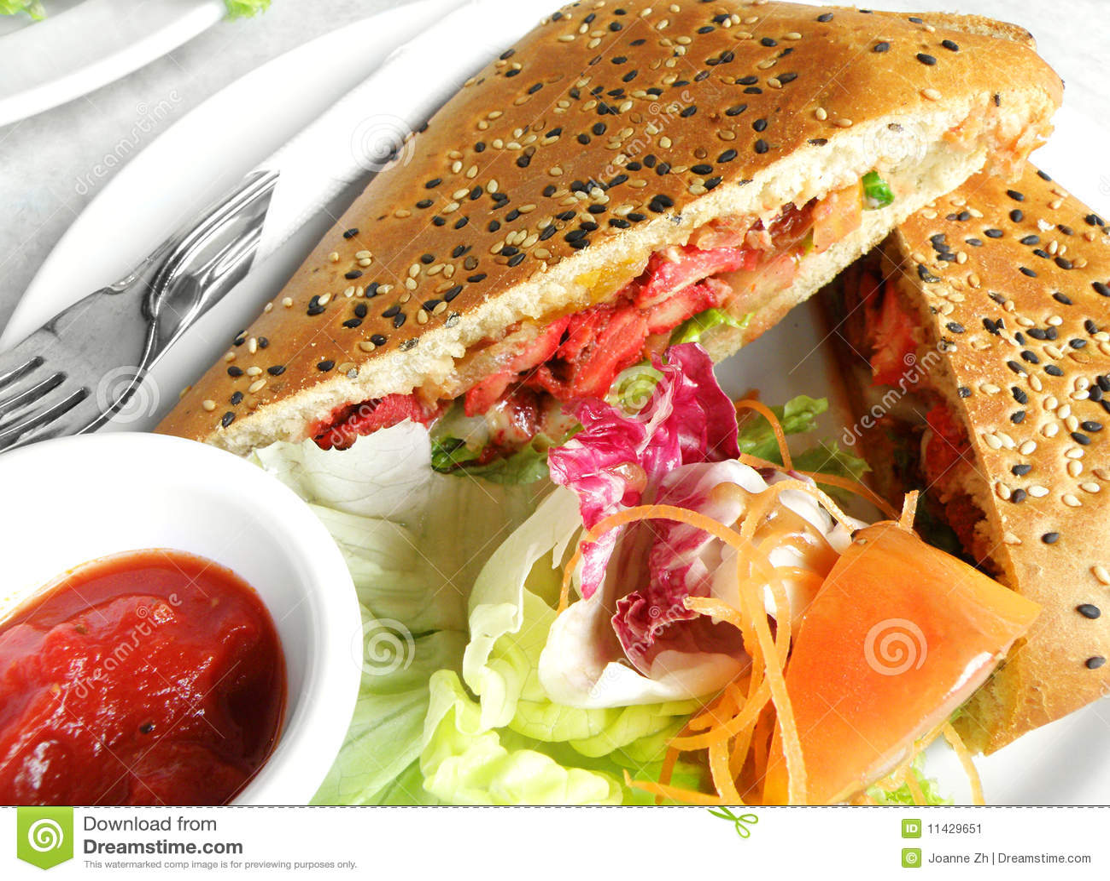 Fusion food - tandoori chicken in foccacia sandwic