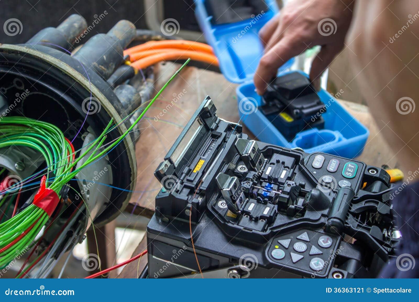 Fusion som splitsar maskinen, optisk kabel för fiber, kontaktdon, Terminat