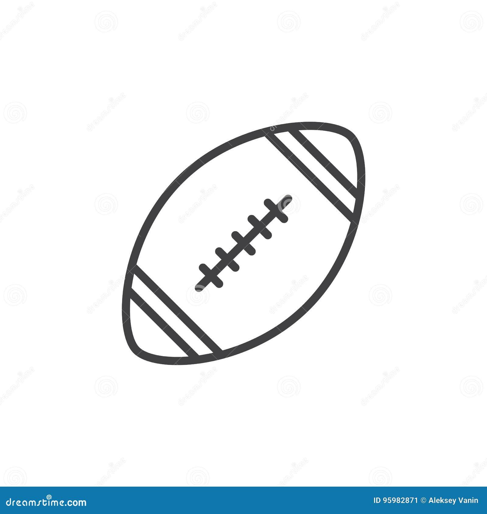 Futbol amerykański piłki linii ikona, konturu wektoru znak, liniowy stylowy piktogram odizolowywający na bielu