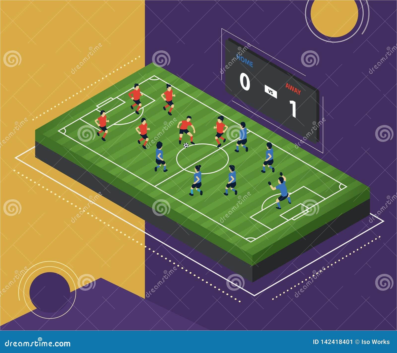 Futbol grafiki Zmielony Isometric pojęcie