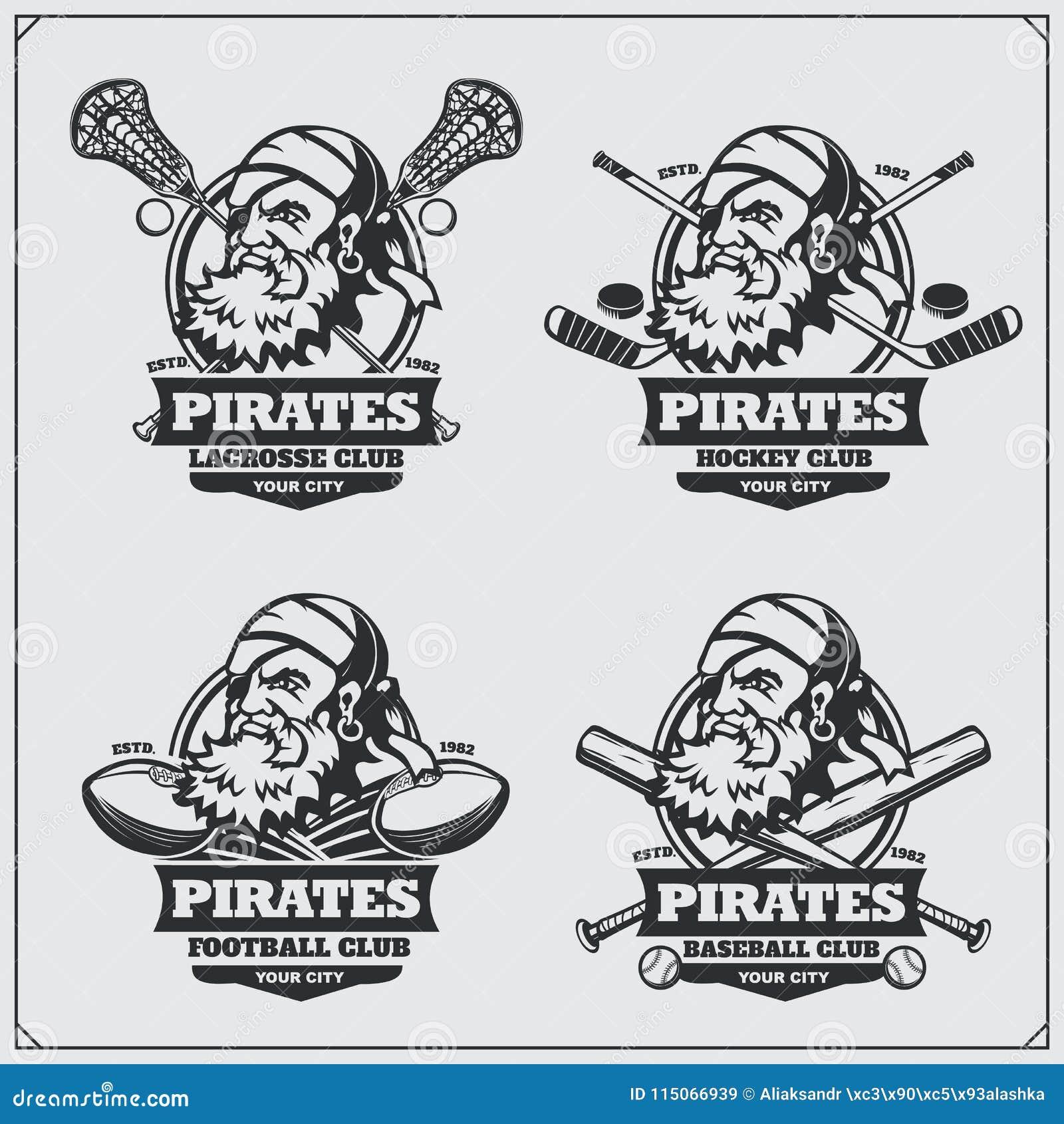 Futbol, lacrosse, baseball, hokej etykietki i logowie, i Sporta klubu emblematy z piratem