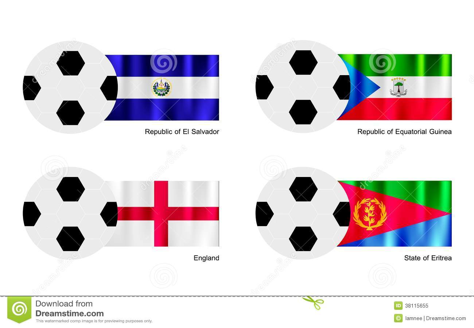 Futbol z Salwador, gwinei równikowej, Anglia i Erytrea flaga,