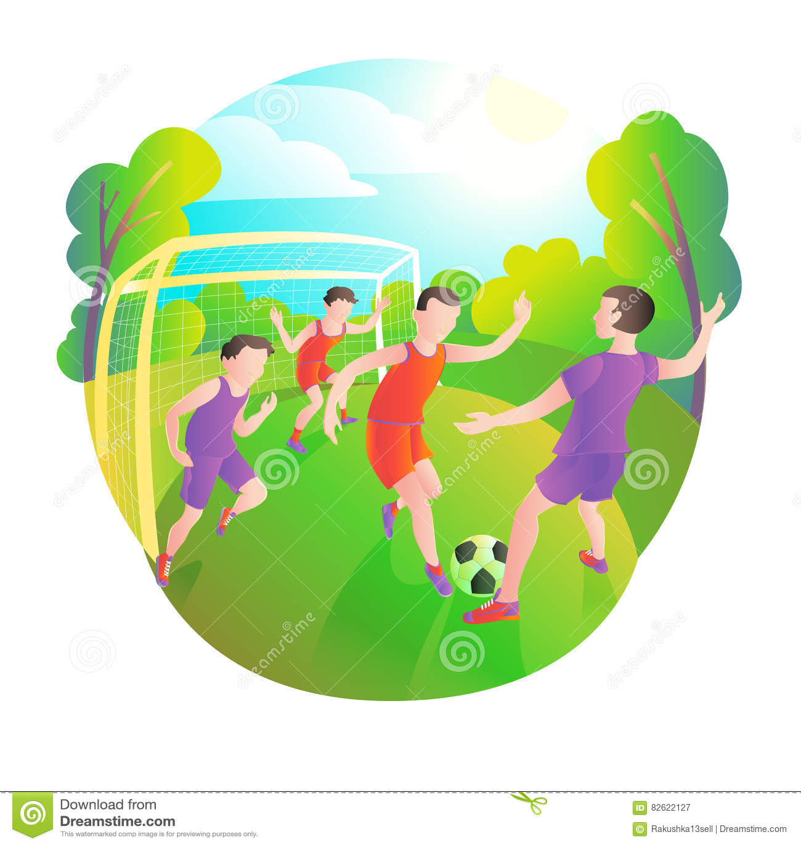 Futboliści bawić się outdoors Boisko piłkarskie, gracze i piłka, Bramkarz przy bramą