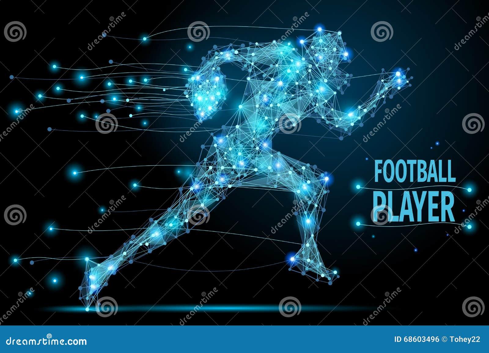Futbolista corriente poligonal
