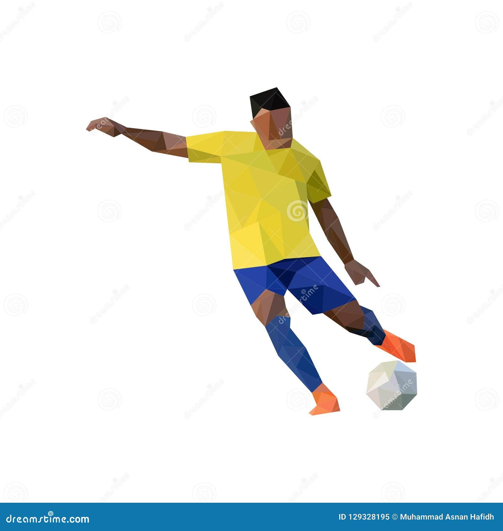 Futbolista que golpea la bola con el pie