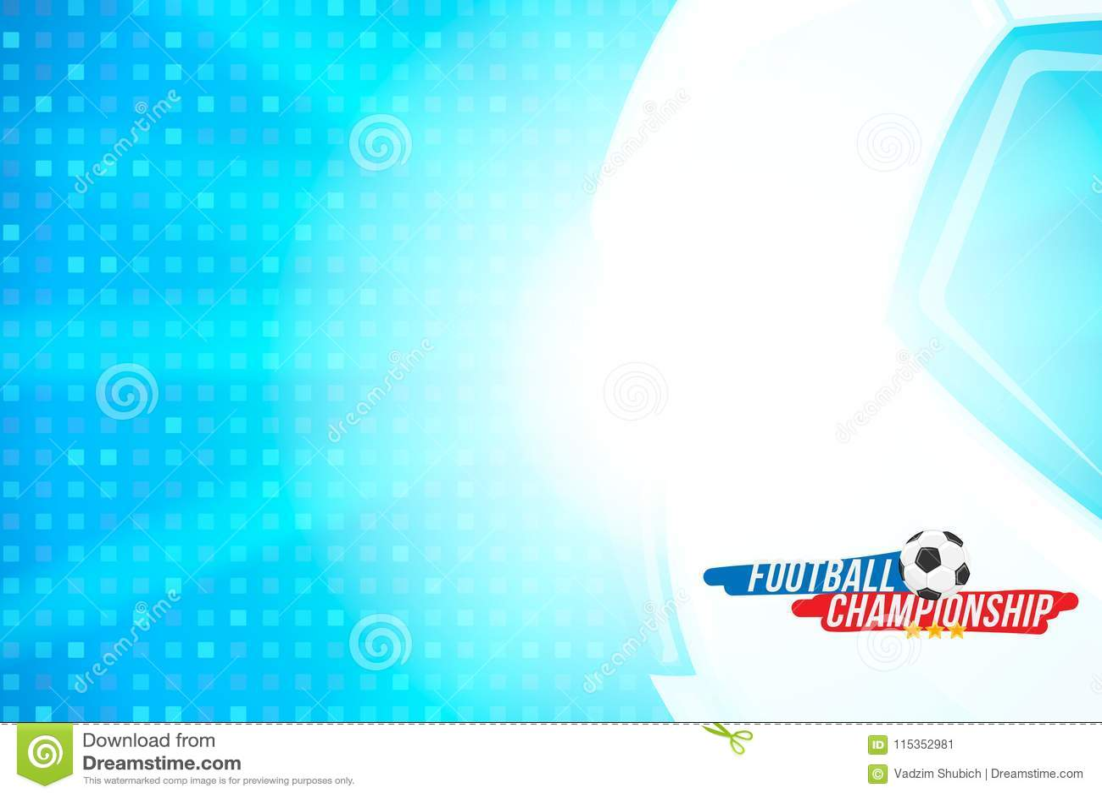 Futbolowy mistrzostwo Sztandaru szablonu horyzontalny format z futbolowym tekstem na tle z jaskrawym lekkim skutkiem i piłką