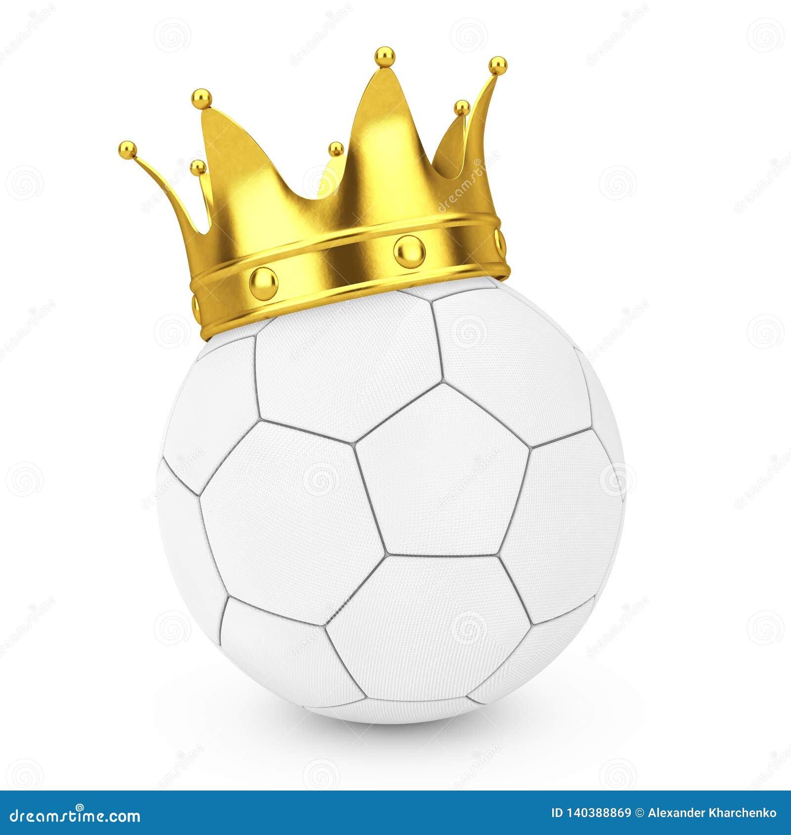 Futbolowy piłka nożna sukcesu pojęcie Złota korona nad Białej skóry piłki nożnej Futbolową piłką świadczenia 3 d