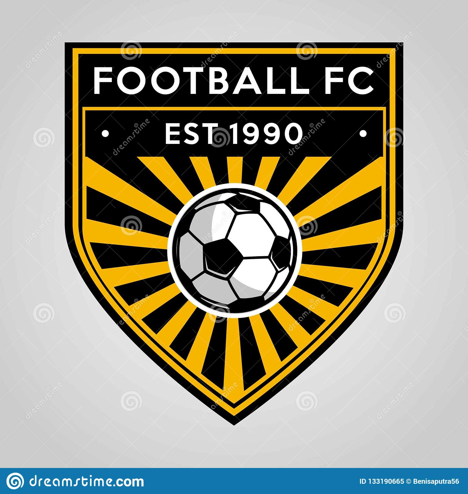 Futbolowy piłki nożnej odznaki logo szablonu projekt, piłki nożnej drużyna, wektor Sport, ikona