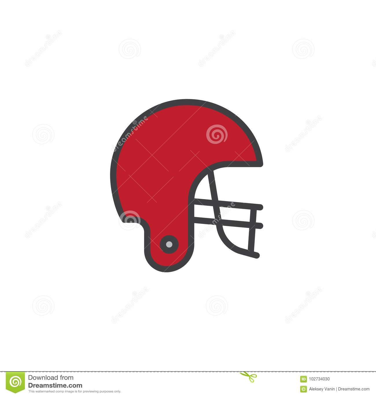 Futbolu amerykańskiego konturu hełm wypełniająca ikona