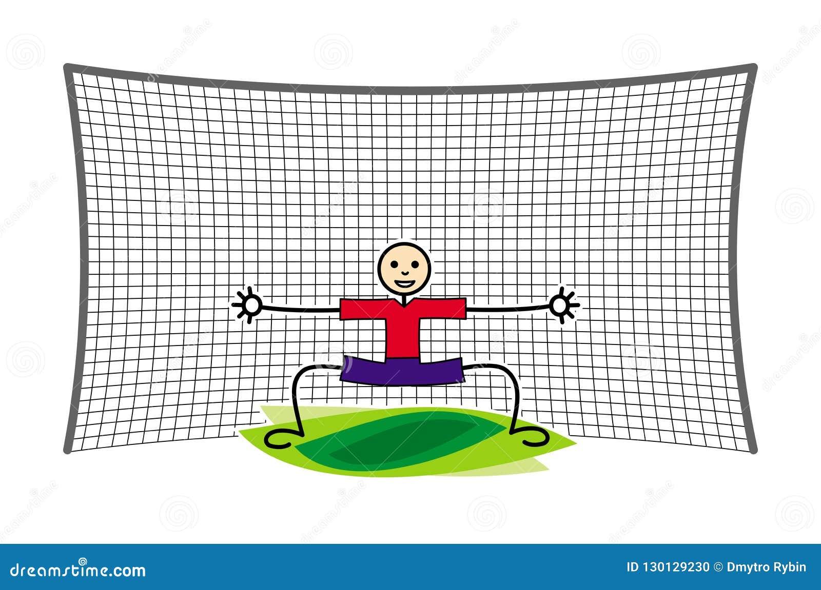Futbolu, piłki nożnej bramkarz w celu/ Śmieszny kreskówka obrazek jest może projektant wektor evgeniy grafika niezależny kotelevs