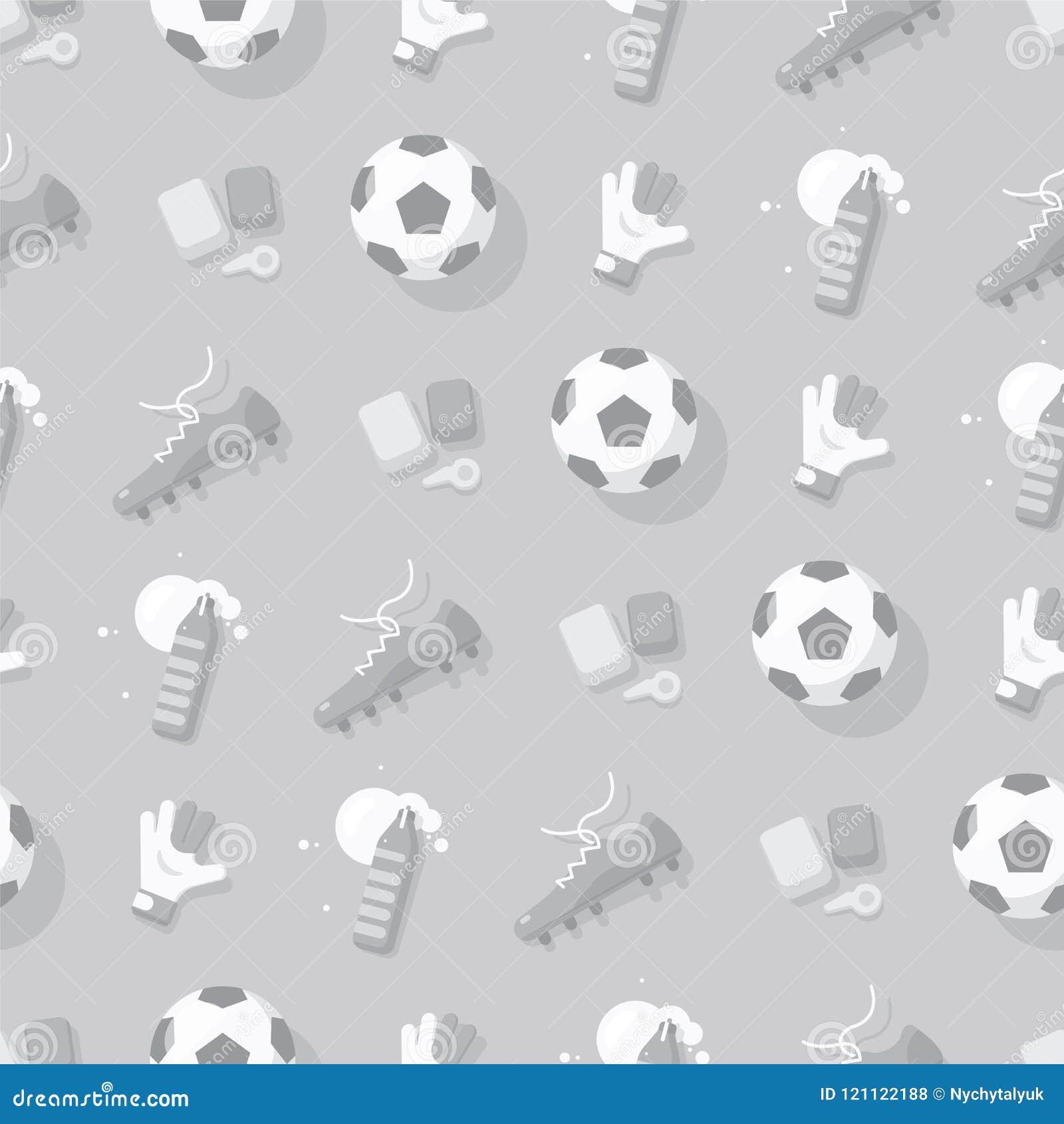 Futbolu, piłki nożnej tło Z sporta wyposażeniem/ szarości bezszwowy deseniowy