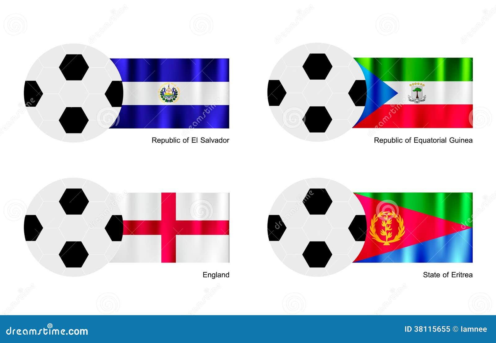 Futebol com a bandeira de El Salvador, de Guiné Equatorial, de Inglaterra e de Eritreia