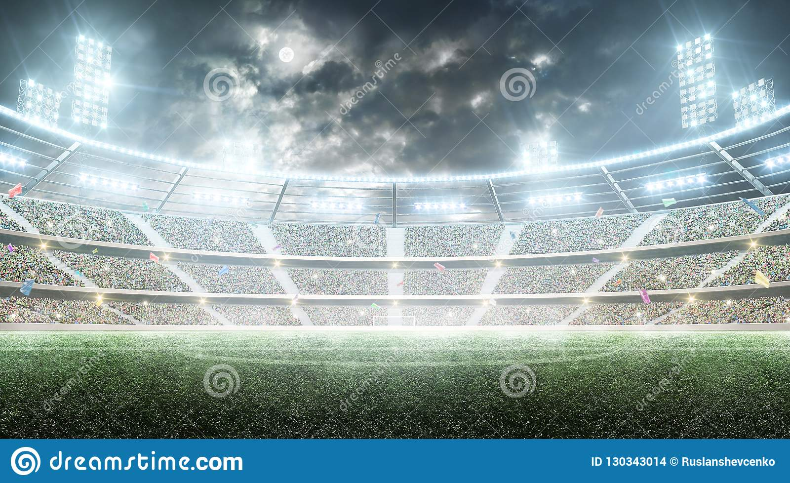 Futebol stadium Arena de esporte profissional Estádio da noite sob a lua com luzes, fãs e bandeiras Fundo