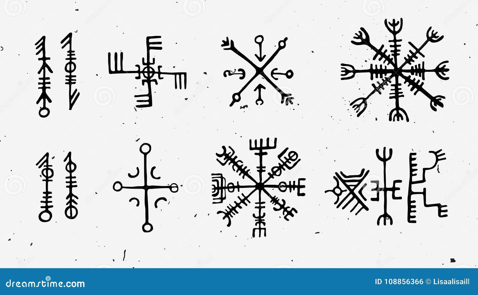 Futhark Norse Islandic And Viking Runes Set Magic Hand Draw Symbols