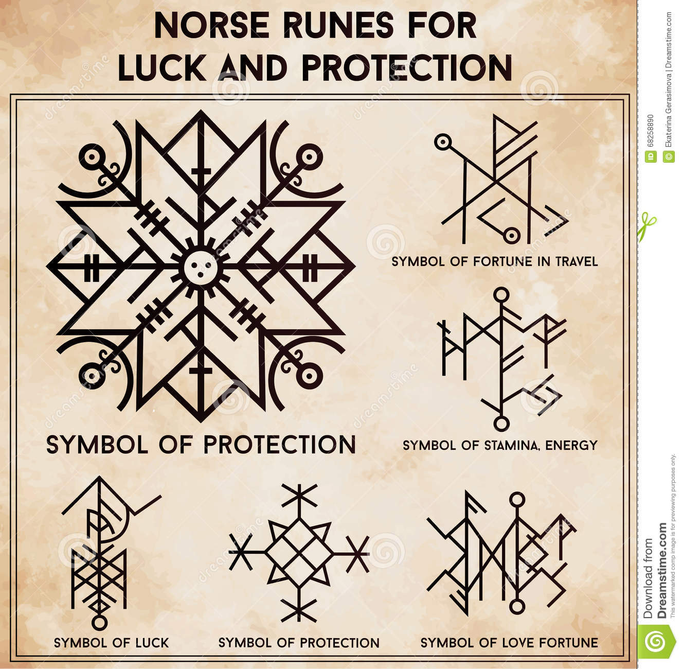 Futhark Runes Magic Symbols Vector Set Stock Vector Illustration