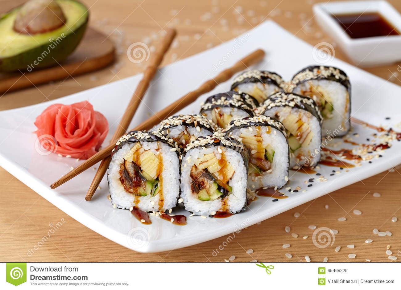Futomaki Sushi Roll With Eel Cucumber Sesame Stock Image