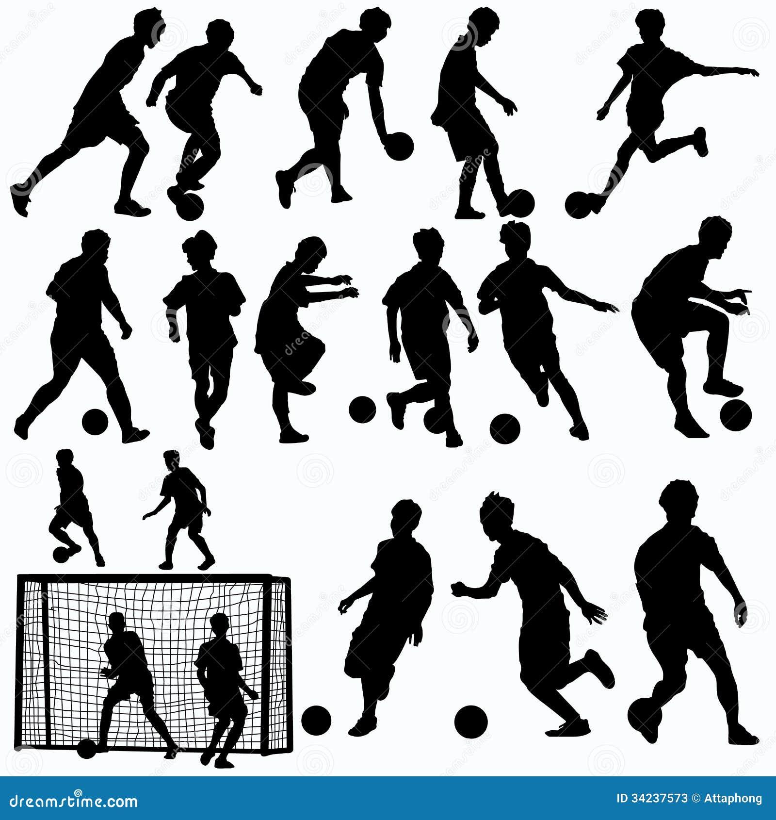 Futsal graczów sylwetki wektorowe