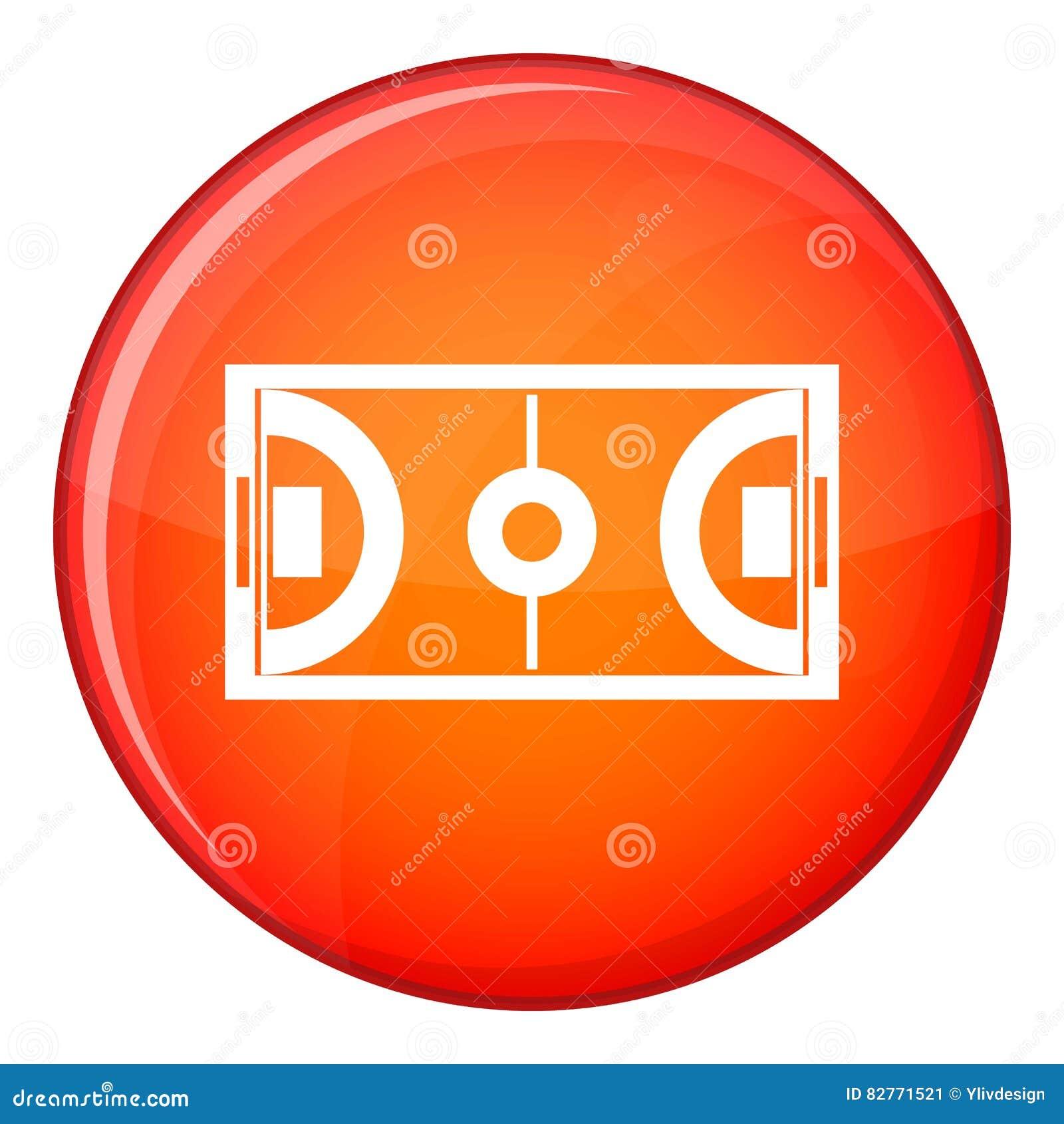 Futsal ou icône de champ de football en salle, style plat