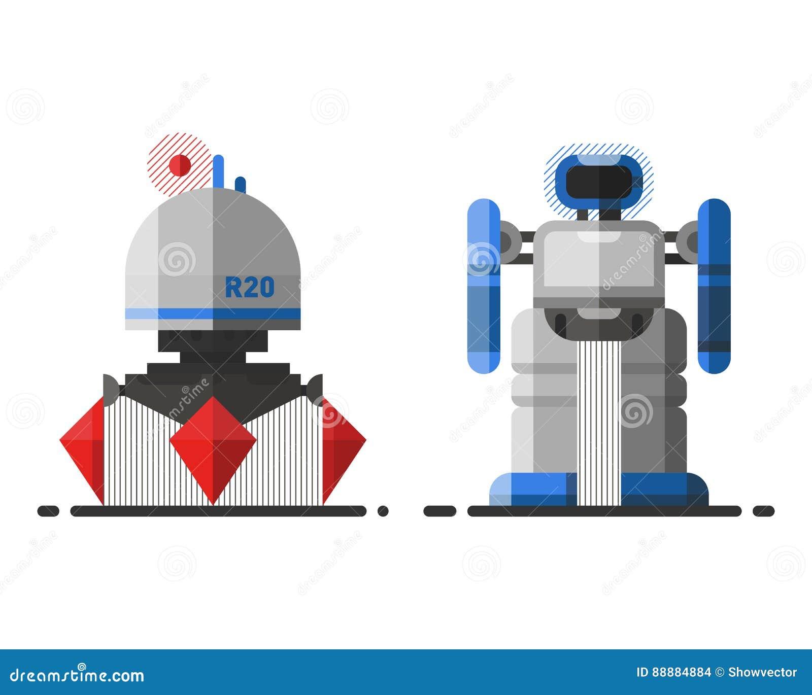 Futur caractère robotique d icône d élément de conception futuriste de jouet et de cyborg de la science de vintage de robot de ma