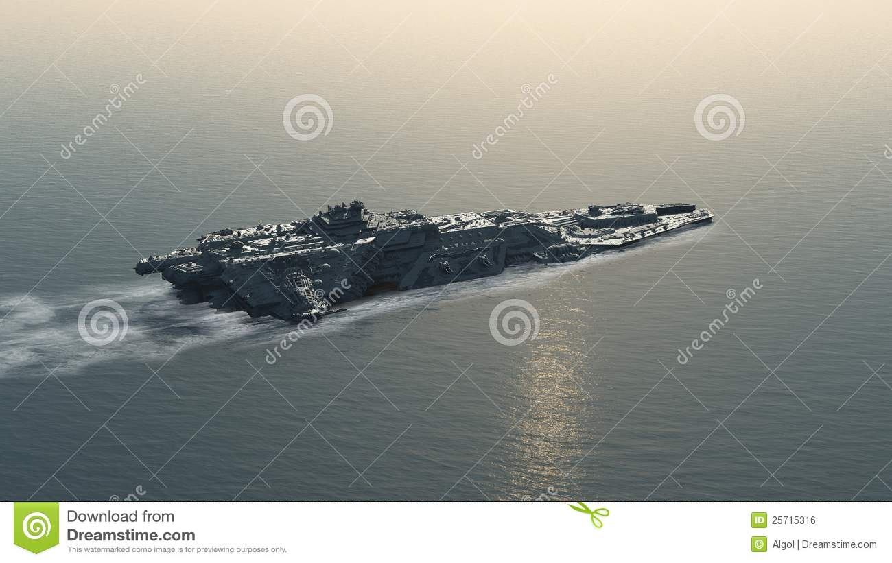 Science fiction futuristic battle ship at sea, 3d digitally rendered ...