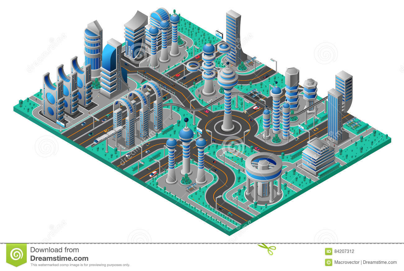 Future City Isometric Composition