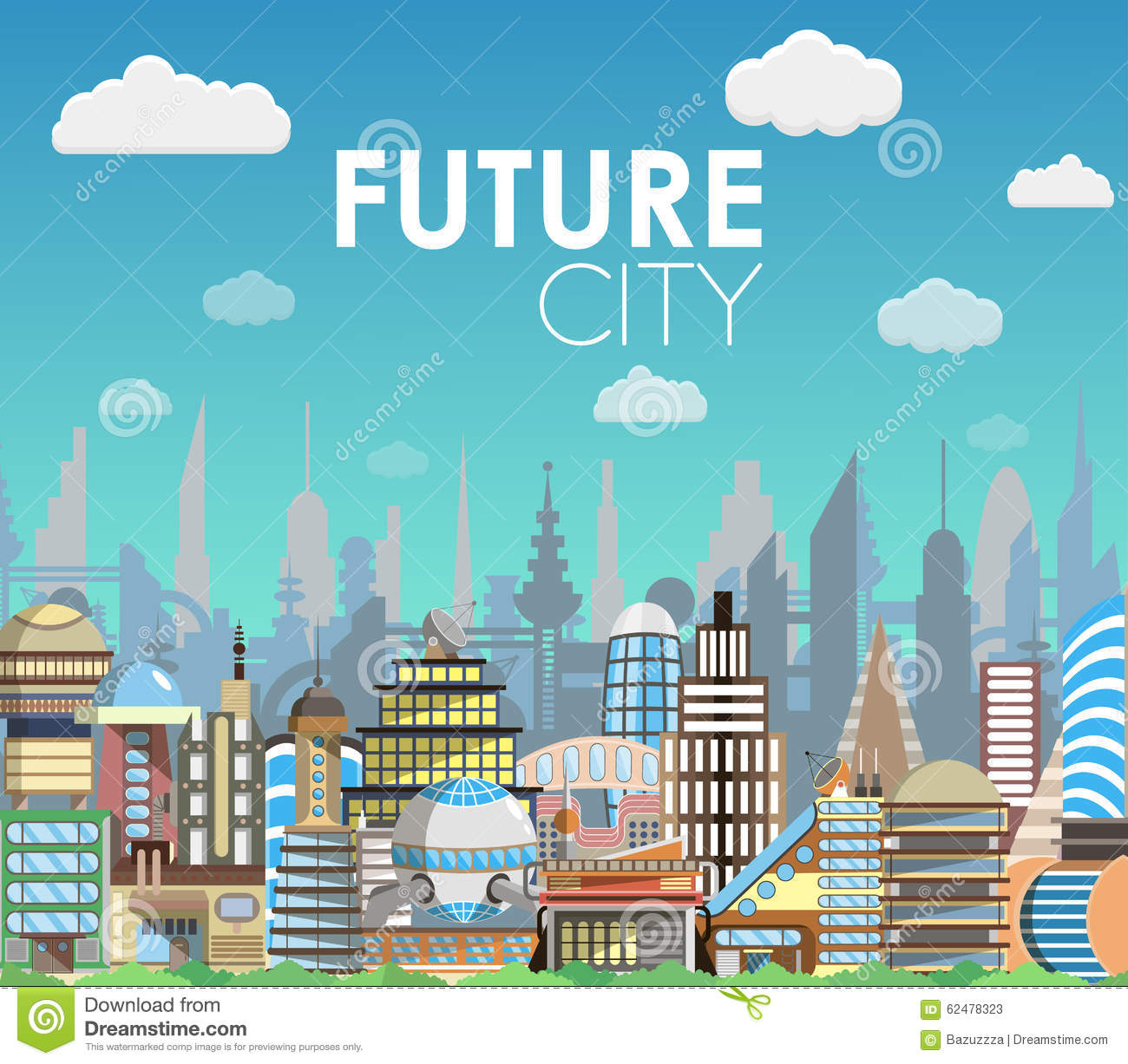 future city landscape cartoon vector illustration modern